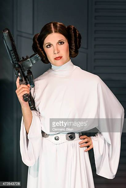 A wax figure of the actress Carrie Fisher as the Star Wars character Leia Organa is displayed on the occasion of Madame Tussauds Berlin Presents New...