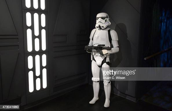 A wax figure of the Star Wars Stormtrooper on display at 'Star Wars At Madame Tussauds' on May 12 2015 in London England