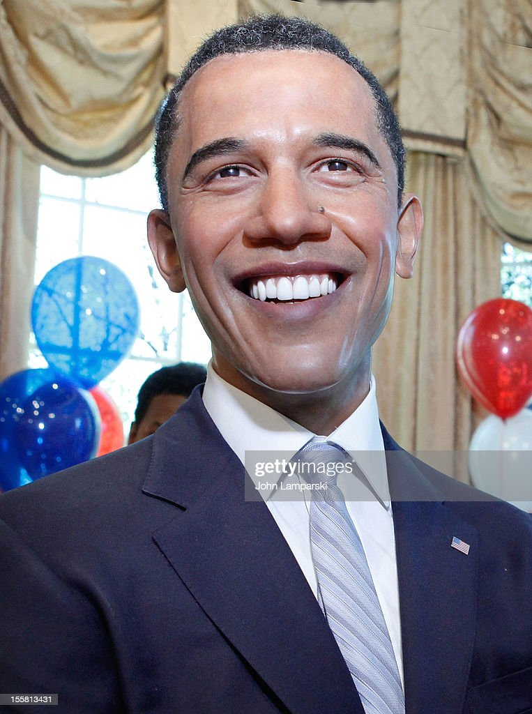 A wax figure of U.S. President <a gi-track='captionPersonalityLinkClicked' href=/galleries/search?phrase=Barack+Obama&family=editorial&specificpeople=203260 ng-click='$event.stopPropagation()'>Barack Obama</a> is seen as Madame Tussauds New York celebrates President <a gi-track='captionPersonalityLinkClicked' href=/galleries/search?phrase=Barack+Obama&family=editorial&specificpeople=203260 ng-click='$event.stopPropagation()'>Barack Obama</a>'s reelection at Madame Tussauds on November 8, 2012 in New York City.
