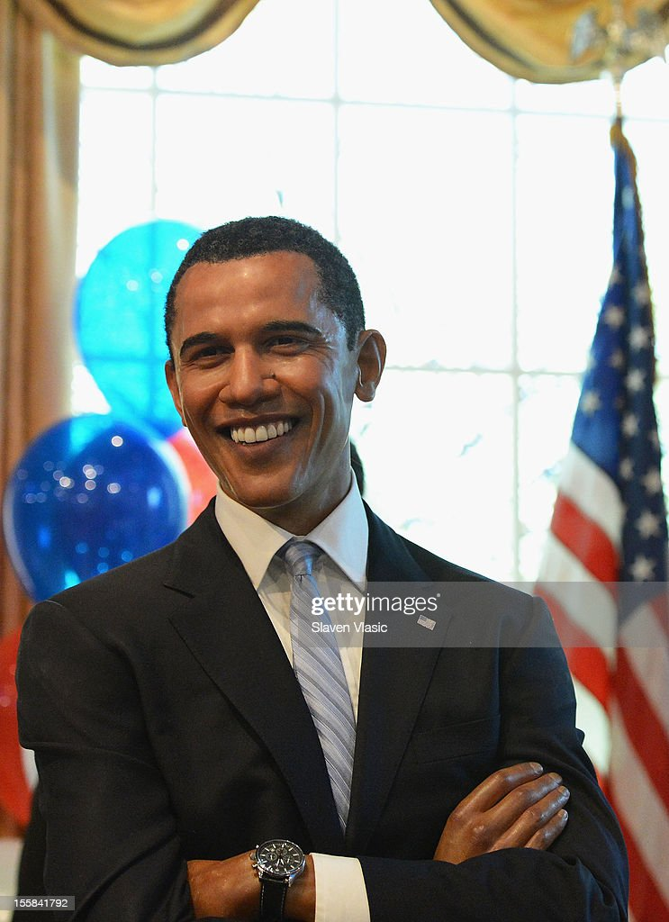 A wax figure of U.S. President <a gi-track='captionPersonalityLinkClicked' href=/galleries/search?phrase=Barack+Obama&family=editorial&specificpeople=203260 ng-click='$event.stopPropagation()'>Barack Obama</a> is seen as Madame Tussauds New York Celebrates President <a gi-track='captionPersonalityLinkClicked' href=/galleries/search?phrase=Barack+Obama&family=editorial&specificpeople=203260 ng-click='$event.stopPropagation()'>Barack Obama</a> Reelection at Madame Tussauds on November 8, 2012 in New York City.