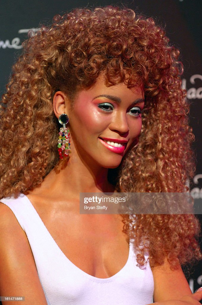 A wax figure of Whitney Houston is unveiled at Madame Tussauds Las Vegas at The Venetian on the anniversary of her death on February 11, 2013 in Las Vegas Nevada.