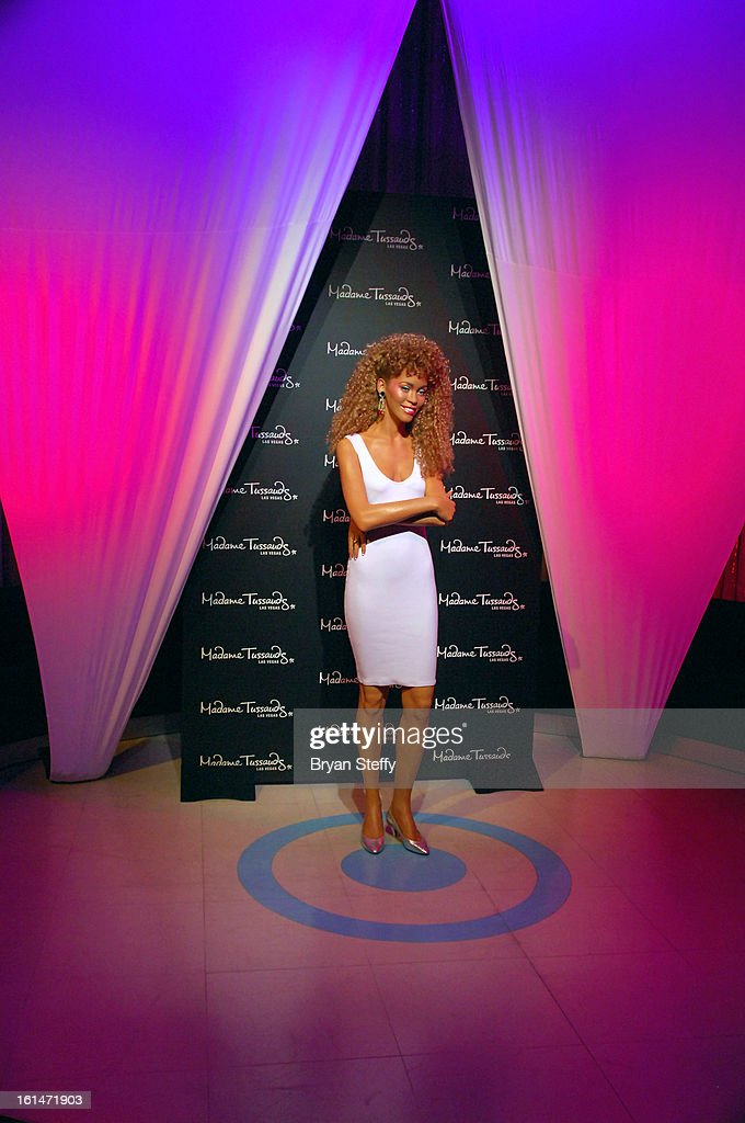 A wax figure of <a gi-track='captionPersonalityLinkClicked' href=/galleries/search?phrase=Whitney+Houston&family=editorial&specificpeople=201541 ng-click='$event.stopPropagation()'>Whitney Houston</a> is unveiled at Madame Tussauds Las Vegas at The Venetian on the anniversary of her death on February 11, 2013 in Las Vegas Nevada.