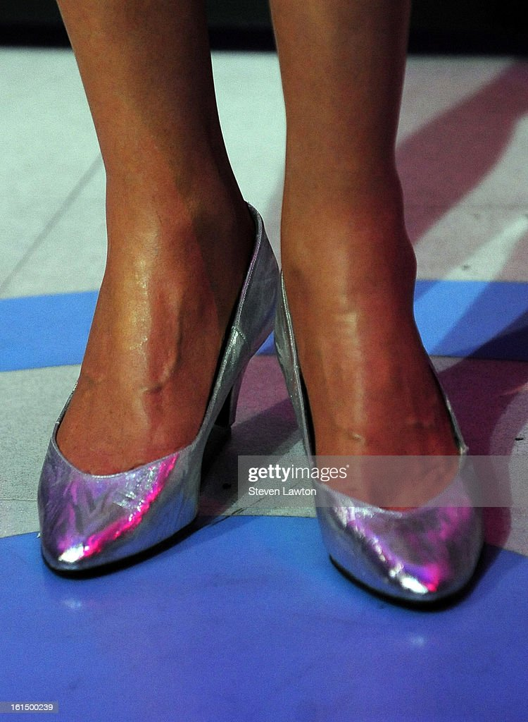 A wax figure of <a gi-track='captionPersonalityLinkClicked' href=/galleries/search?phrase=Whitney+Houston&family=editorial&specificpeople=201541 ng-click='$event.stopPropagation()'>Whitney Houston</a> (shoes detail) is unveiled at Madame Tussauds Las Vegas at The Venetian on February 11, 2013 in Las Vegas, Nevada.