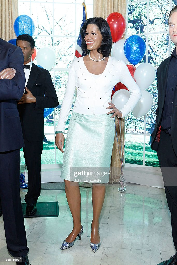 Wax figure or the First Lady <a gi-track='captionPersonalityLinkClicked' href=/galleries/search?phrase=Michelle+Obama&family=editorial&specificpeople=2528864 ng-click='$event.stopPropagation()'>Michelle Obama</a> is displayed as Madame Tussauds New York celebrates President Barack Obama's reelection at Madame Tussauds on November 8, 2012 in New York City.