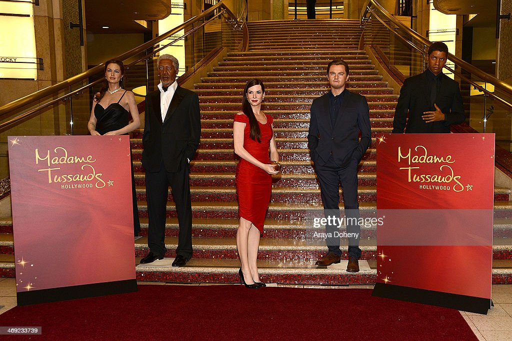 Wax figures of Angelina Jolie, <a gi-track='captionPersonalityLinkClicked' href=/galleries/search?phrase=Morgan+Freeman&family=editorial&specificpeople=169833 ng-click='$event.stopPropagation()'>Morgan Freeman</a>, <a gi-track='captionPersonalityLinkClicked' href=/galleries/search?phrase=Sandra+Bullock&family=editorial&specificpeople=202248 ng-click='$event.stopPropagation()'>Sandra Bullock</a>, Leonardo DiCaprio and <a gi-track='captionPersonalityLinkClicked' href=/galleries/search?phrase=Denzel+Washington&family=editorial&specificpeople=171332 ng-click='$event.stopPropagation()'>Denzel Washington</a> at the Madame Tussauds Hollywood Unveils <a gi-track='captionPersonalityLinkClicked' href=/galleries/search?phrase=Sandra+Bullock&family=editorial&specificpeople=202248 ng-click='$event.stopPropagation()'>Sandra Bullock</a> Wax Figure event at Madame Tussauds on February 13, 2014 in Hollywood, California.
