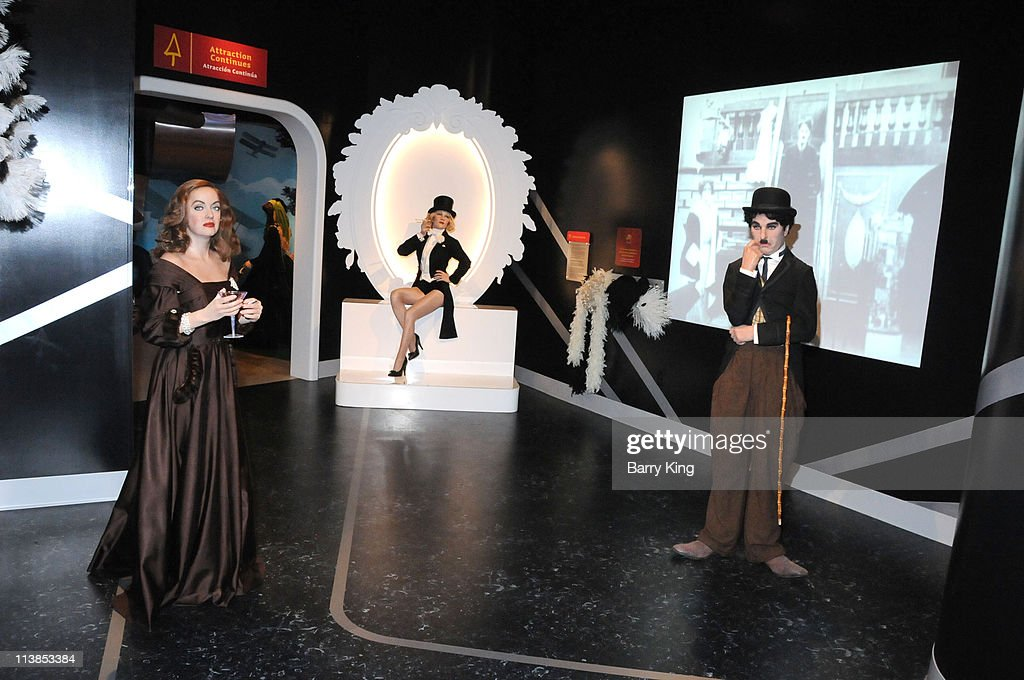 Wax figures of Bette Davis, Marlene Dietrich and Charlie Chaplin are displayed at Madame Tussaud's Wax Museum on July 29, 2009 in Hollywood, California.