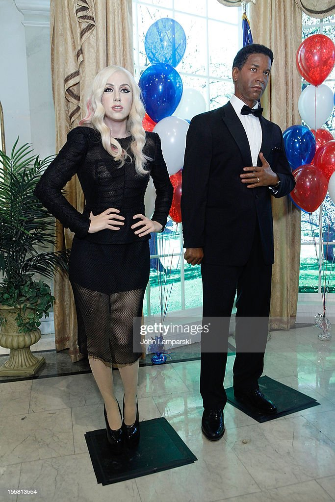 Wax figures of Lady Gaga and <a gi-track='captionPersonalityLinkClicked' href=/galleries/search?phrase=Denzel+Washington&family=editorial&specificpeople=171332 ng-click='$event.stopPropagation()'>Denzel Washington</a> are displayed as Madame Tussauds New York celebrates President Barack Obama's reelection at Madame Tussauds on November 8, 2012 in New York City.