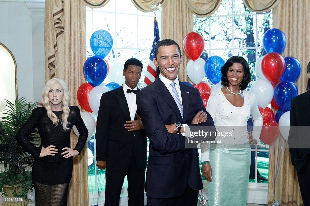 Wax figures of Lady Gaga, <a gi-track='captionPersonalityLinkClicked' href=/galleries/search?phrase=Denzel+Washington&family=editorial&specificpeople=171332 ng-click='$event.stopPropagation()'>Denzel Washington</a>, U.S. President <a gi-track='captionPersonalityLinkClicked' href=/galleries/search?phrase=Barack+Obama&family=editorial&specificpeople=203260 ng-click='$event.stopPropagation()'>Barack Obama</a> and First Lady <a gi-track='captionPersonalityLinkClicked' href=/galleries/search?phrase=Michelle+Obama&family=editorial&specificpeople=2528864 ng-click='$event.stopPropagation()'>Michelle Obama</a> are displayed as Madame Tussauds New York celebrates President <a gi-track='captionPersonalityLinkClicked' href=/galleries/search?phrase=Barack+Obama&family=editorial&specificpeople=203260 ng-click='$event.stopPropagation()'>Barack Obama</a>'s reelection at Madame Tussauds on November 8, 2012 in New York City.