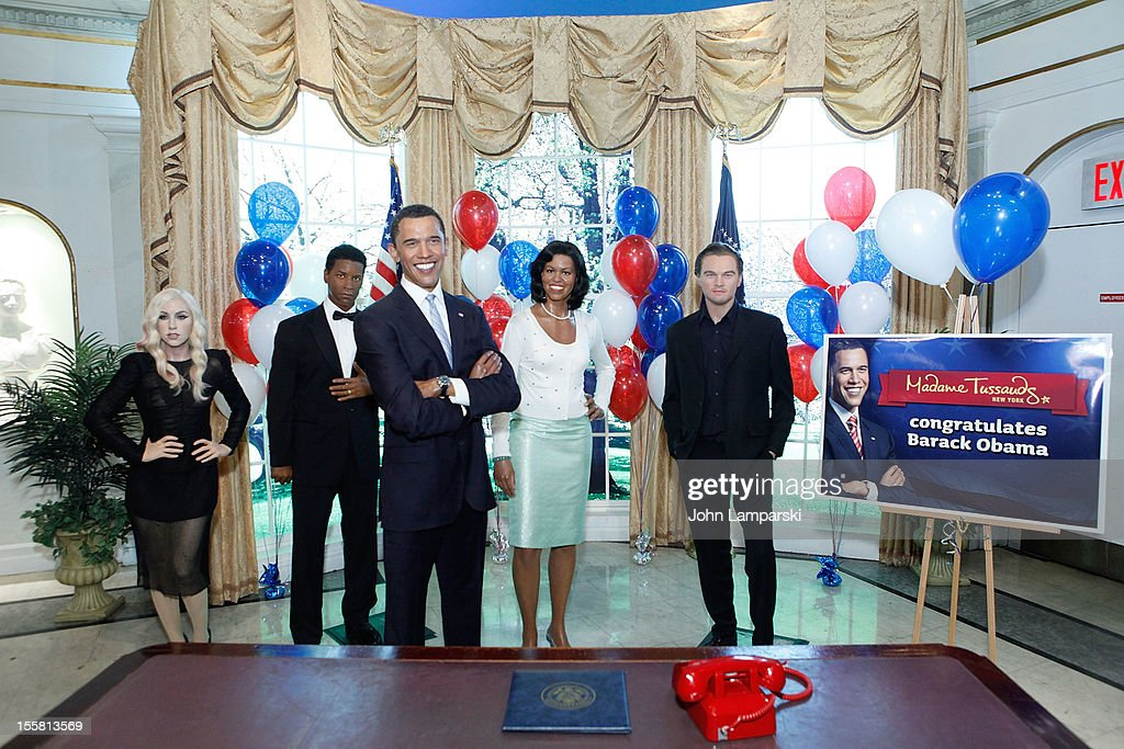 Wax figures of Lady Gaga, Denzel Washington, U.S. President Barack Obama, First Lady Mjichelle Obama and Leonardo DiCaprio are displayed as Madame Tussauds New York celebrates President Barack Obama's reelection at Madame Tussauds on November 8, 2012 in New York City.