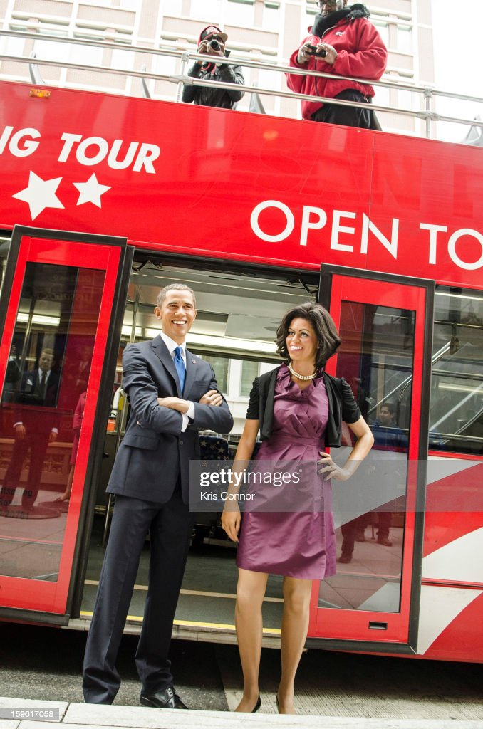Wax figures of President <a gi-track='captionPersonalityLinkClicked' href=/galleries/search?phrase=Barack+Obama&family=editorial&specificpeople=203260 ng-click='$event.stopPropagation()'>Barack Obama</a> and first lady Michelle Obama arrive at Madame Tussauds during Madame Tussauds DC Presidential Wax Figures Bus Tour on January 17, 2013 in Washington, United States.