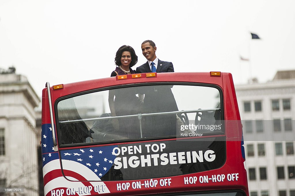 Wax figures of President Barack Obama and first lady Michelle Obama arrive at Madame Tussauds during Madame Tussauds DC Presidential Wax Figures Bus Tour on January 17, 2013 in Washington, United States.