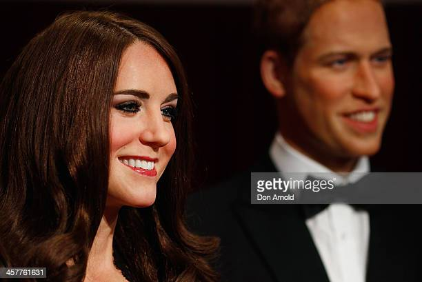 Wax figures of Princess Catherine and Prince William are seen at Maddam Tussauds on December 19 2013 in Sydney Australia