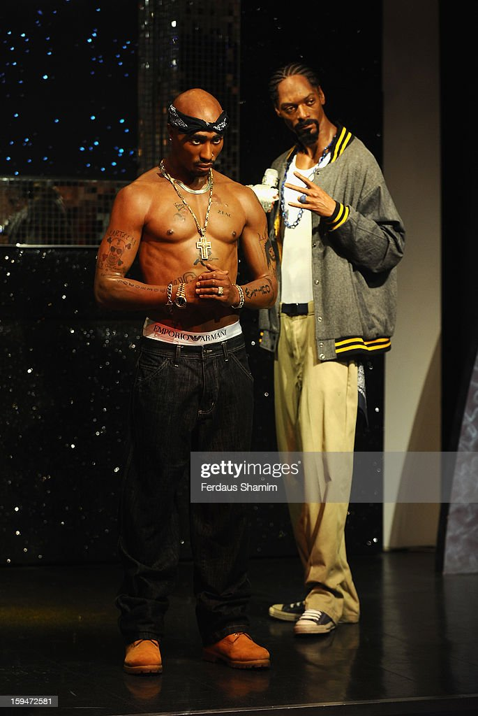 Wax figures of rap stars Tupac Shakur (L) and Snoop Dogg are exhibited for the first time together in London at Madame Tussauds on January 14, 2013 in London, England.
