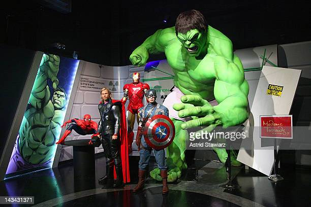Wax figures of SpiderMan Thor as portrayed by actor Chris Hemsworth Iron Man Captain America as portrayed by actor Chris Evans and The Hulk appear at...
