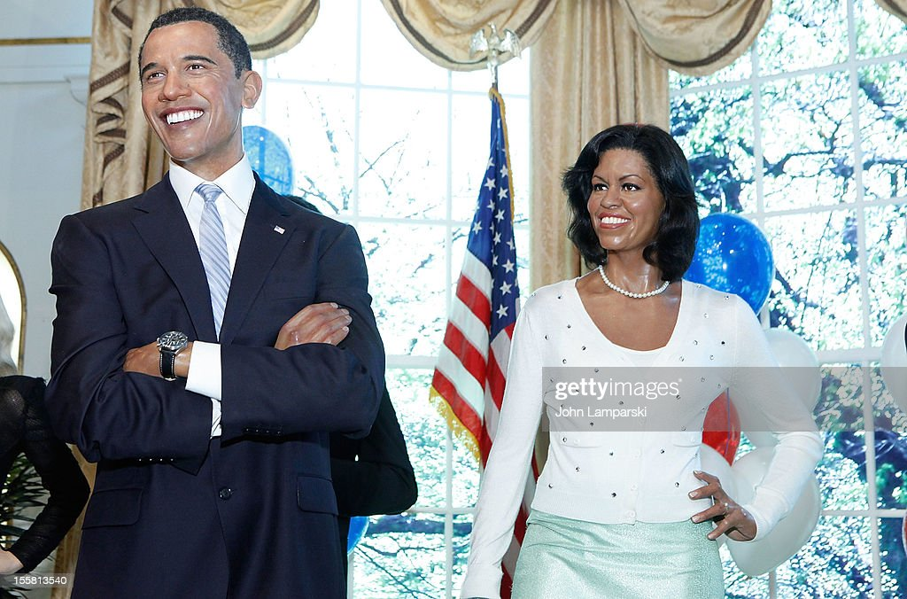 Wax figures of U.S. President Barack Obama and First Lady <a gi-track='captionPersonalityLinkClicked' href=/galleries/search?phrase=Michelle+Obama&family=editorial&specificpeople=2528864 ng-click='$event.stopPropagation()'>Michelle Obama</a> are displayed as Madame Tussauds New York celebrates President Barack Obama's reelection at Madame Tussauds on November 8, 2012 in New York City.