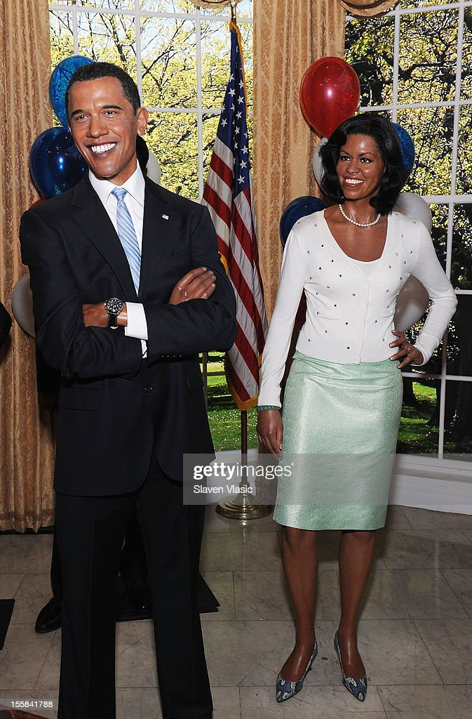 Wax figures of U.S. President Barack Obama and First Lady <a gi-track='captionPersonalityLinkClicked' href=/galleries/search?phrase=Michelle+Obama&family=editorial&specificpeople=2528864 ng-click='$event.stopPropagation()'>Michelle Obama</a> are displayed as Madame Tussauds New York Celebrates President Barack Obama Reelection at Madame Tussauds on November 8, 2012 in New York City.