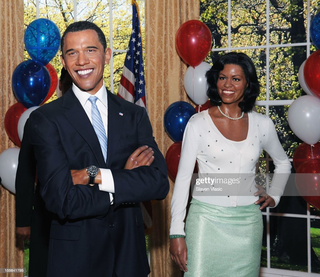 Wax figures of U.S. President <a gi-track='captionPersonalityLinkClicked' href=/galleries/search?phrase=Barack+Obama&family=editorial&specificpeople=203260 ng-click='$event.stopPropagation()'>Barack Obama</a> and First Lady <a gi-track='captionPersonalityLinkClicked' href=/galleries/search?phrase=Michelle+Obama&family=editorial&specificpeople=2528864 ng-click='$event.stopPropagation()'>Michelle Obama</a> are displayed as Madame Tussauds New York Celebrates President <a gi-track='captionPersonalityLinkClicked' href=/galleries/search?phrase=Barack+Obama&family=editorial&specificpeople=203260 ng-click='$event.stopPropagation()'>Barack Obama</a> Reelection at Madame Tussauds on November 8, 2012 in New York City.