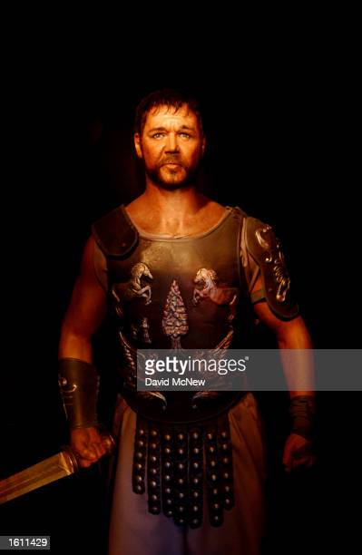 A wax replica of actor Russell Crowe in the film 'Gladiator' is on display at the Hollywood Wax Museum August 28 2001 in Hollywood CA The museum...
