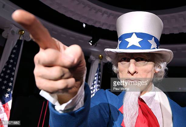 A wax replica of Uncle Sam centers the 'Madame Tussauds Wants You' exhibit where Independence Day is celebrated every day with a brand new...