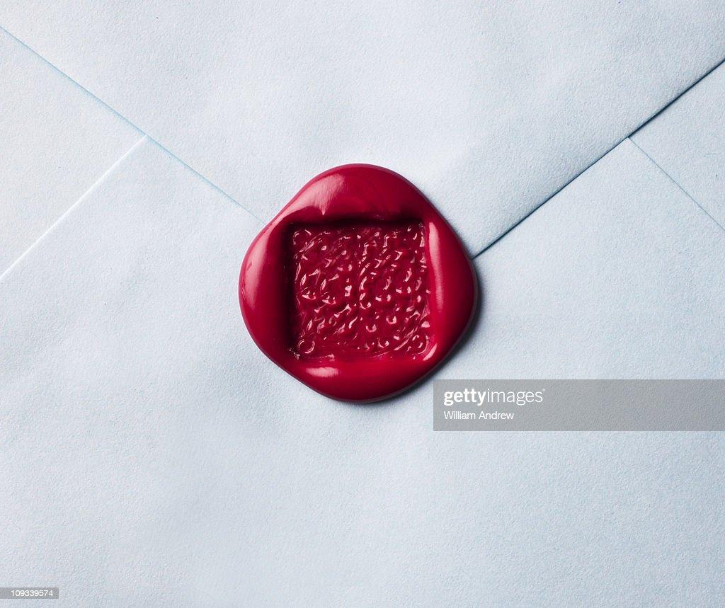 Wax seal on envelope