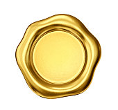 golden wax seal isolated on a white. 3d illustration