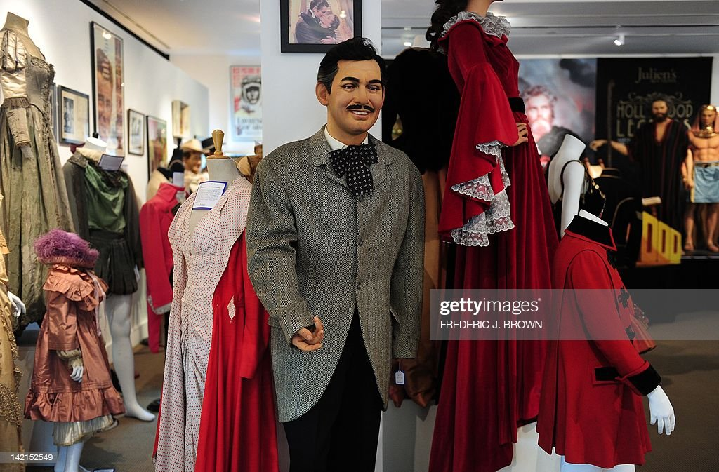 A wax-figure of actor Clark Gable, dressed in the riding jacket from the film 'Gone With the Wind' stands on display for auction in Beverly Hills on March 30, 2012 California. A collection of Hollywood costumes, props, memorabilia and figures will be auctioned this weekend at Julien's Auction House, covering the Roaring Silent Film Period to Action Packed Super Heroes. The riding jacket worn by Gable in the film is estimated between $10,000 and 15,000.00. AFP PHOTO/Frederic J. BROWN