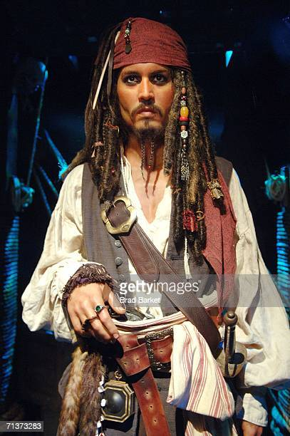 A waxwork model of Johnny Depp in character as Captain Jack Sparrow from the film 'Pirates of The Caribbean Dead Man's Chest' is seen at Madame...