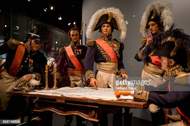 Waxwork models of Napoleon's generals reenact the night before the Battle of Waterloo forming an exhibit inside the Memorial 1815 exhibition at the...