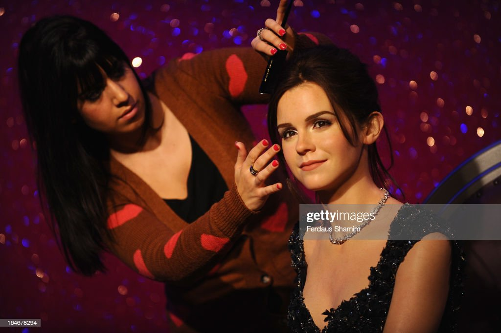 A waxwork of actress <a gi-track='captionPersonalityLinkClicked' href=/galleries/search?phrase=Emma+Watson&family=editorial&specificpeople=171373 ng-click='$event.stopPropagation()'>Emma Watson</a> is unveiled at Madame Tussauds on March 26, 2013 in London, England.