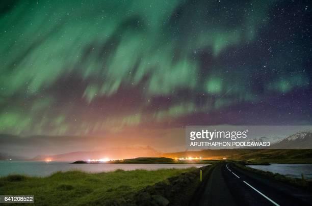 Way to Aurora borealis at scandinavia , mt. kirkjufell, iceland