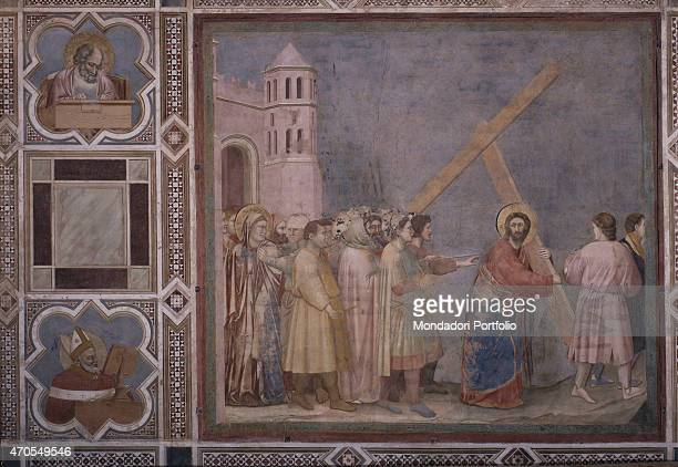 'Way to Calvary by Giotto 13031305 14th Century fresco Italy Veneto Padua Scrovegni Chapel After restoration picture Whole artwork view Outside the...