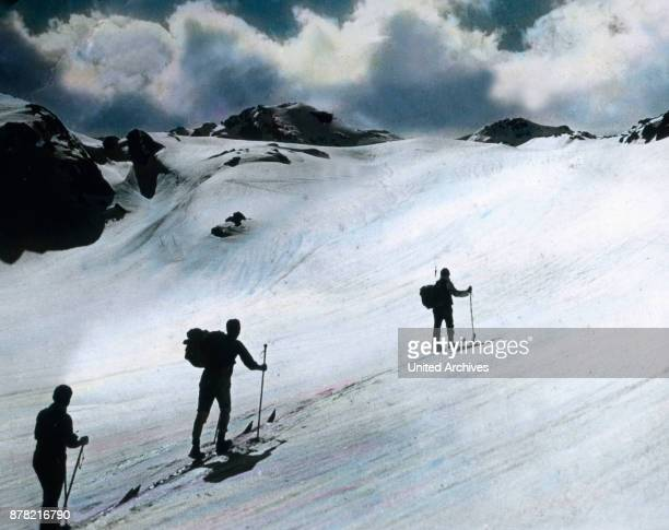 Way up to the peak of Wilder Krimmel in Tyrol 1920s