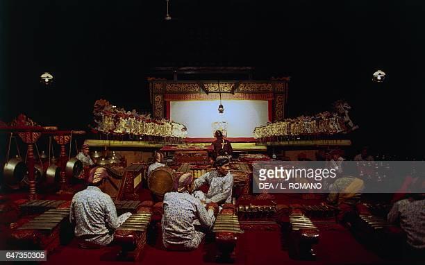 Wayang Kulit gamelam orchestra Museum Sonobudoyo theater Java Indonesia