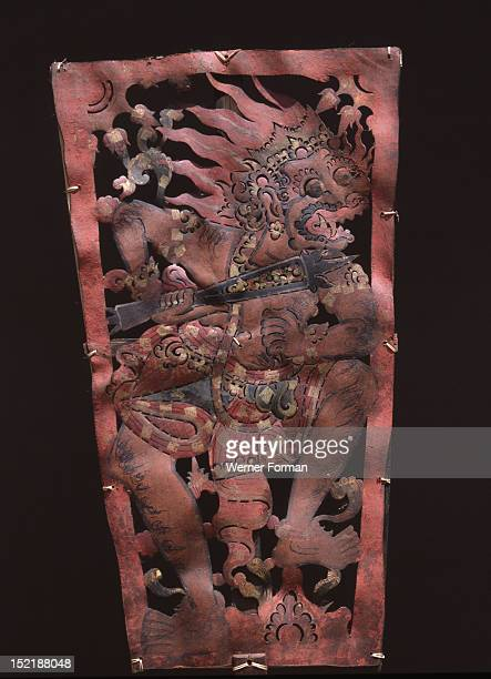 Wayang shadow puppet of Hanuman monkey hero of the ancient Hindu epic the Ramayana Indonesia Balinese c 1900 Bali