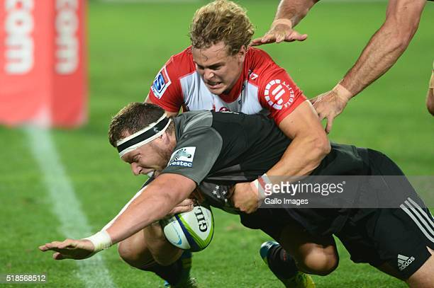 Wayatt Crockett of the Crusaders scores during the Super Rugby match between Emirates Lions and Crusaders at Emirates Airline Park on April 01 2016...