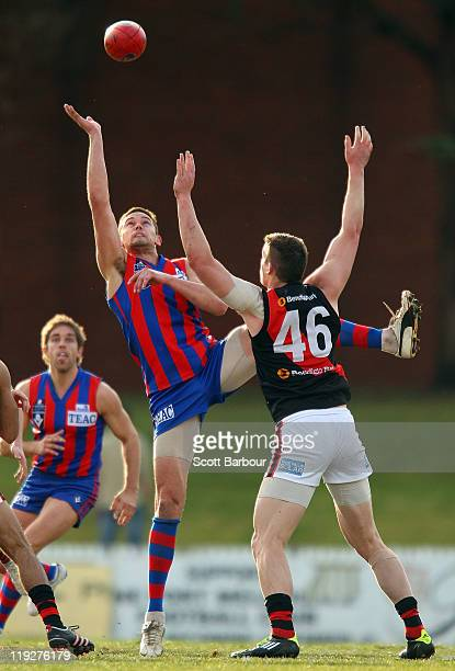 Wayde Skipper of Port Melbourne competes for the ball during the round 16 VFL match between Port Melbourne and Bendigo at Teac Oval on July 16 2011...