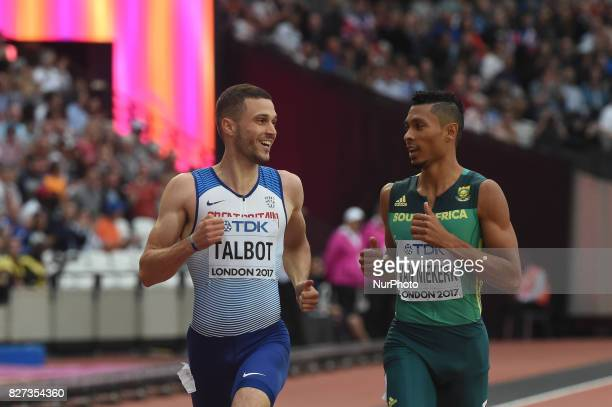 Wayde VAN NIEKERK Nederlands and Daniel TALBOT Great Britain during 200 meter heats in London on August 7 2017 at the 2017 IAAF World Championships...