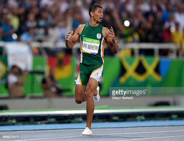 Wayde van Niekerk of South Africa wins the Men's 400 meter final on Day 9 of the Rio 2016 Olympic Games at the Olympic Stadium on August 14 2016 in...
