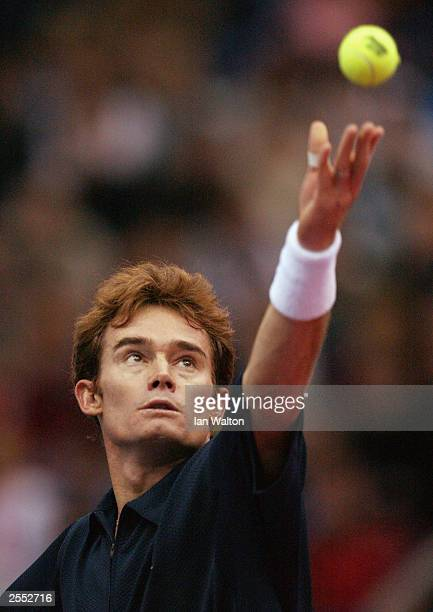 Waye Black of Zimbabwe in action against Marat Safin of Russia during the ATP and WTA Kremlin Cup October 1 2003 at the Olympic Stadium in Moscow