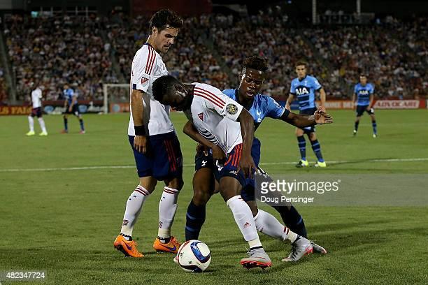 Waylon Francis of MLS AllStars and Josh Onomah of Tottenham Hotspur battle for control of the ball during the 2015 ATT Major League Soccer AllStar...