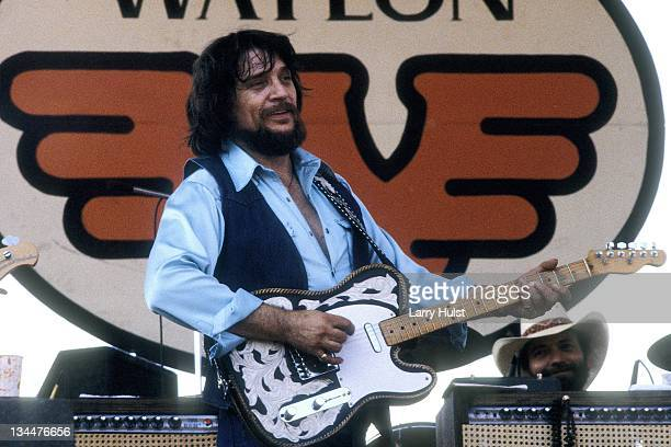 Waylon Jennings performs with 'Willie Nelson' at the Spartan Stadium in San Jose California on July 26 1982