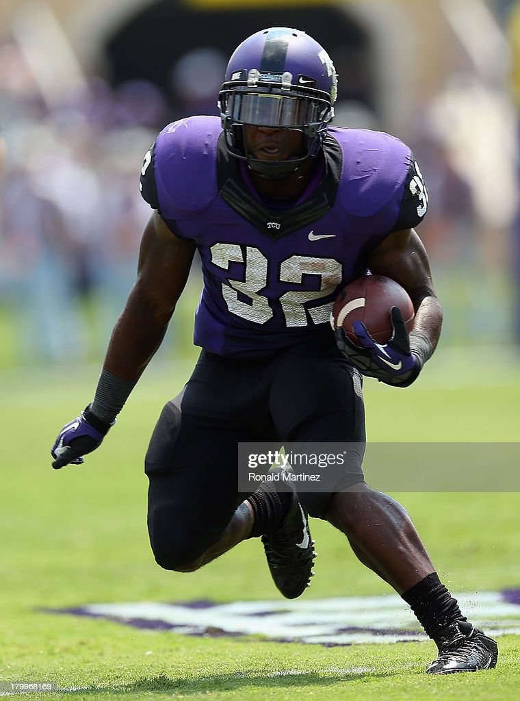 Waymon James #32 of the TCU Horned Frogs at Amon G. Carter Stadium on September 7, 2013 in Fort Worth, Texas.
