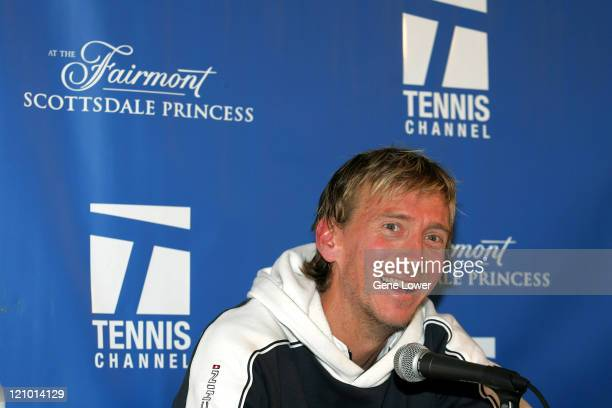 Wayne Arthurs fields questions after defeating Mario Ancic in the Tennis Channel Open championship match at the Tennis Channel Open in Scottsdale...