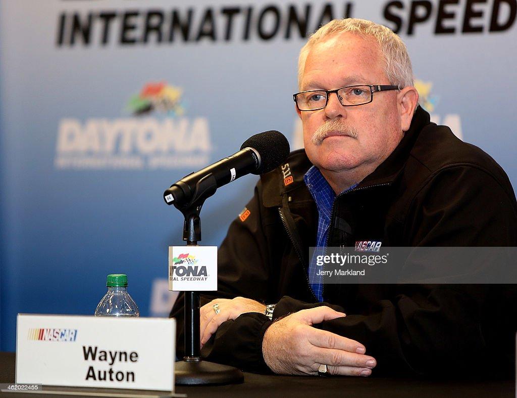 Wayne Auton, NASCAR Nationwide Series Director addresses the media during NASCAR Preseason Thunder at Daytona International Speedway on January 12, 2014 in Daytona Beach, Florida.