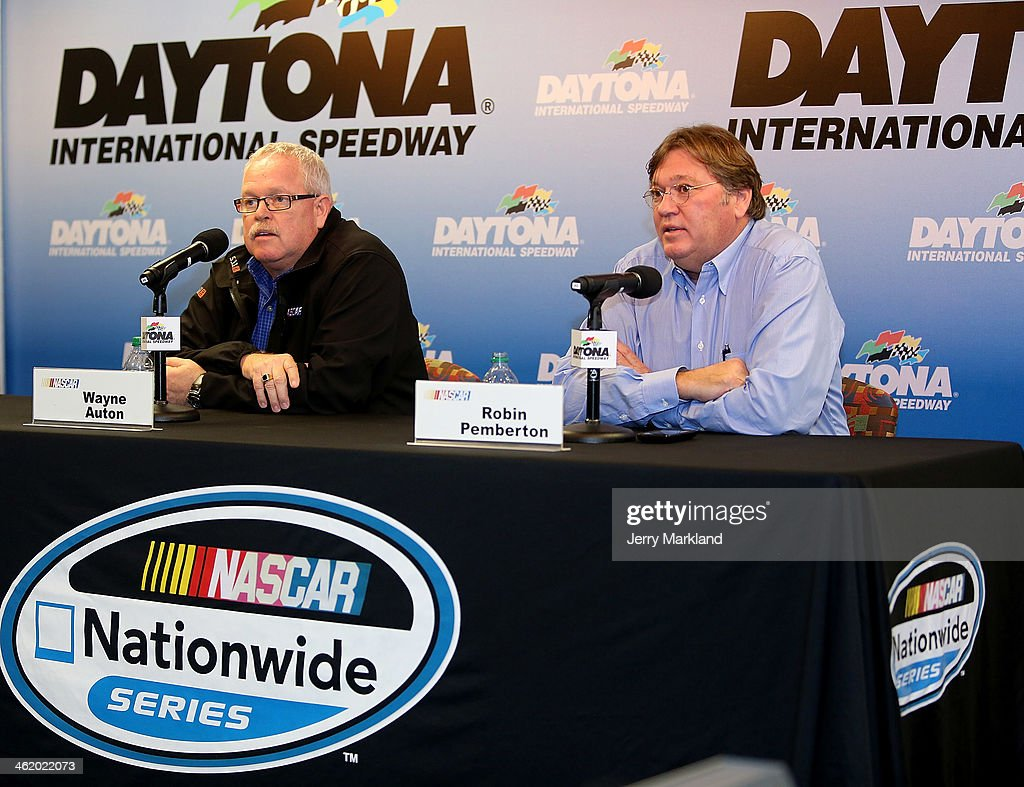 Wayne Auton, NASCAR Nationwide Series Director and Robin Pemberton, NASCAR Vice President of Competition address the media during NASCAR Preseason Thunder at Daytona International Speedway on January 12, 2014 in Daytona Beach, Florida.