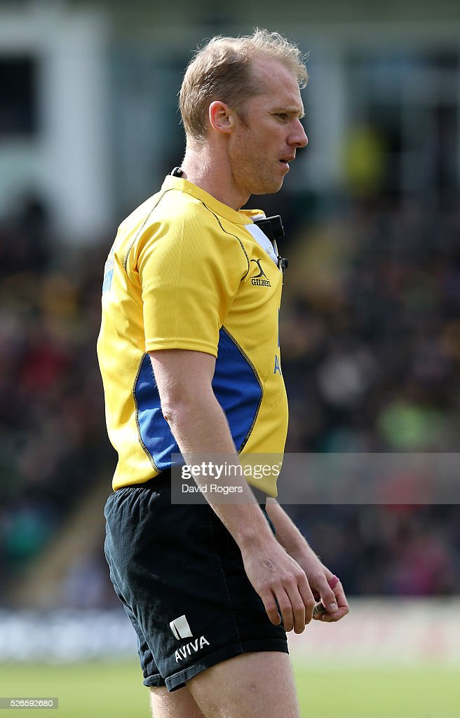 Wayne Barnes, the referee looks onduring the Aviva Premiership match between Northampton Saints and Bath at Franklin's Gardens on April 30, 2016 in Northampton, England.
