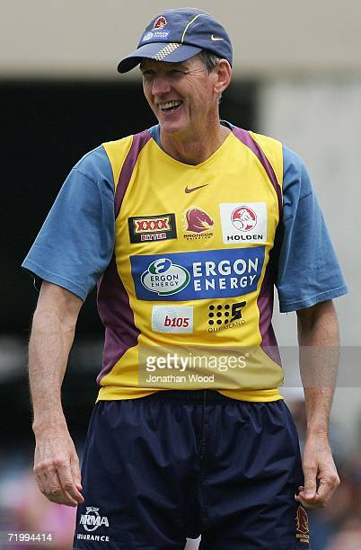 Wayne Bennett coach of the Broncos laughs during a team training session at the Broncos fan day at Red Hill September 26 2006 in Brisbane Australia...