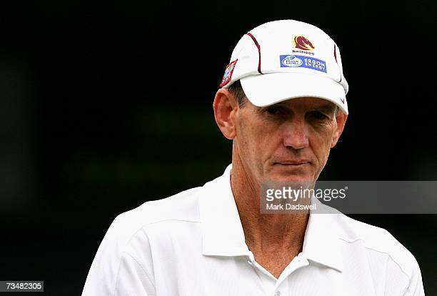 Wayne Bennett coach of the Broncos leaves the field after watching his team warm up during the NRL trial match between the Melbourne Storm and the...