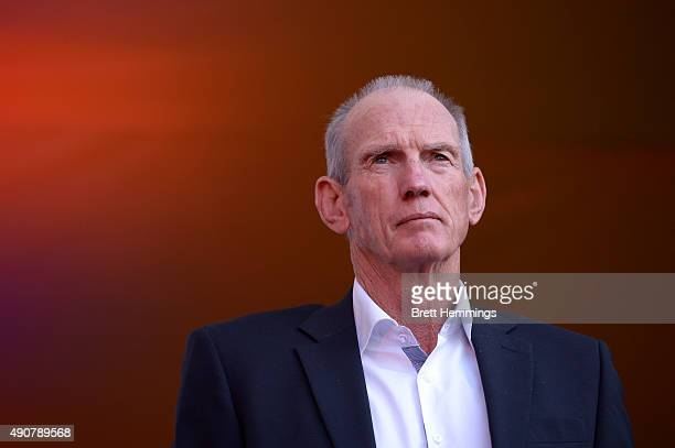 Wayne Bennett coach of the Broncos looks on during the launch of NRL Nation at Darling Harbour on October 1 2015 in Sydney Australia