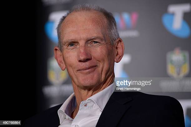 Wayne Bennett coach of the Broncos speaks to the media during the official 2015 NRL Grand Final press conference at The Star Room on October 1 2015...
